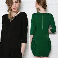 S-4XL BLACK AND GREEN women dres women buds loose long-sleeved dress brand dress vestidos autumn dress
