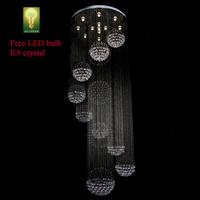 Chandelier Crystal K9 Free LED bulb Hi-Quality Balls  Long Spiral Design Energy Save Living Room Antirust stainless steel Big