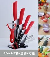 "3"" 4"" 5"" 6"" inch Ceramic Knife Set + Peeler + Acrylic Holder Red Handle,Best kitchenware ceramic kitchen knife set ON Sale"