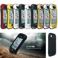 Outdoor Love Mei Shockproof Dustproof Waterproof Aluminum Metal Powerful Extreme Case For iPhone 4S 4G ,Original+Gorilla Glass