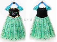 C012 2014 hot girls dress party dress green Frozen ice Romance new summer princess ANNA dress child dress