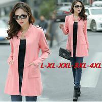 Red,Blue,Pink,Orange L~3XXXL,4XL! 2014 New Autumn Winter Big Plus Size Trench Coat Women Casual Lady Overcoat Long Blazer Coats