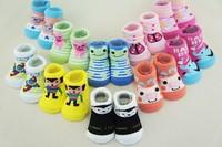10Pairs/Free shipping Lovely Cartoon Baby Socks Anti Slip Cotton With Animal Unisex Slipper Shoes Newborn 0-12Month