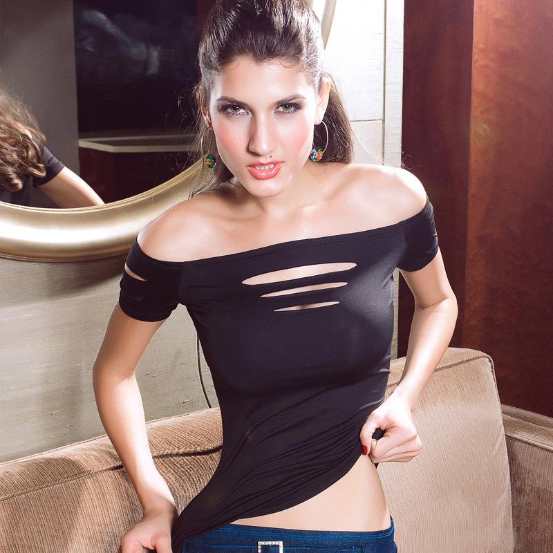 Brand New 2014 Woman Clothes Tops T-Shirt Lady Rock Punk T Shirt Blouses Hole Torn Sexy Skinny Slim Black Tshirt Free Shipping(China (Mainland))