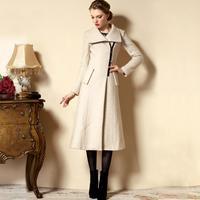 2014 winter woolen overcoat slim woolen outerwear trench coat for women legant ultra long cashmere trench coat