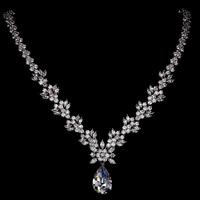 Allencoco luxury design women wedding/bride jewelry/ zircon18k real platinum plated choker necklace WL0705