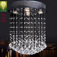 Chandelier Crystal K9 Sparkle Free LED bulb Good Quality Cylinder Short Design Energy Save Living Room Antirust stainless steel