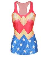New fashion 2014 summer clothes Europe print Wonder Woman tops super man tank tops skinny vests V-62