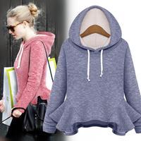 European stations Women's 2014 autumn new long-sleeved hooded sweater flounced big swing coat primer coat
