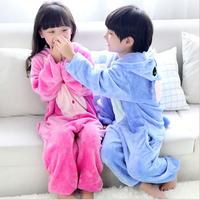 Long-sleeved Robe Flannel Pajamas Cartoon Animal Piece Tracksuit Boys And Girls Onesies Kids Pyjamas Children Winter Nightgown