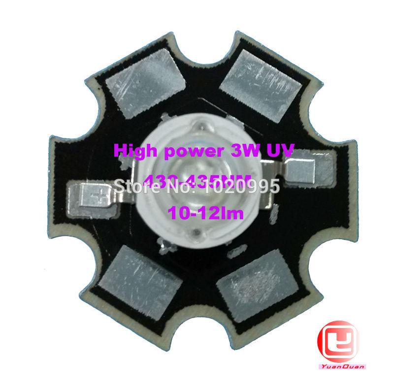 Factory Sale, 10PCS/LOT 3W UV High Power 430NM LED Emitter Light with 20mm Star Platine Heatsink(China (Mainland))