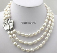 Wholesale Free P&P**3 Rows Genuine White Pearl 18KWGP Shell Flower Clasp Necklace