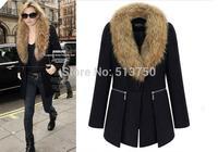 Free shipping 2014 Autumn/winter new design fur collar woolen coat women clothing wool jacket coat women fur jackets