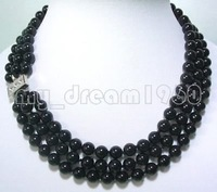 Wholesale&FREE P&P**** MYSTERIOUS 3 STRANDS BLACK ONYX BEADS NECKLACE