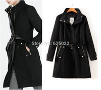 2014 NEW Winter Women's Trendy Lapel Zipper Pockets Adjustable Waist Wool Blends Slim fit Jacket Mid long Trench Coat Outwear