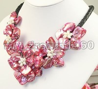 Wholesale Free P&P**Stunning big handmade baroque shell pearl flower leather necklace