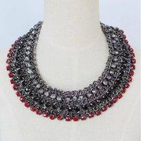 Brand New Luxury Layered Rhinestone Twine Chain Women Bib Statement Necklace