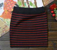 2014 winter new women stripe package hip skirt skirts step stretch wool skirt fashion wild bottoming skirt