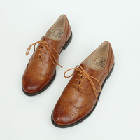 Street Style Classic Round Toe Carved Print Lace Up Genuine Leather Block Shoes Women Casual Shoes