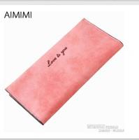 New Fashion Women wallets Long Design Candy Color Nubuck Leather Ladies Change Purse Carteira Feminina Handbags