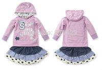 C017   2014 New Hot Sale Girls' Set Rabbit Outwear+Dress fashion children set Purple Color