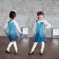 2014 New Frozen Girls Clothing Sets ( Frozen Dress & Girls Dress + Leggings ) Girls Clothes Frozen For Autumn 5 sets / lot 1171