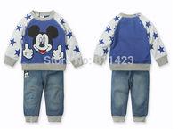 C016  2014 New baby boys autumn cartoon suits mickey sweatshirt +trousers kids casual hoodies set children clothing sets