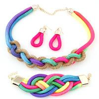 2014 New Punk Handmade Rainbow Rope Jewelry Sets Collar Necklaces+Drop Earrings+Bracelets Infinity Jewelry Bijoux for Women