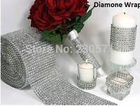 """10Yard (30 feet) 4.6"""" wide Silver Color Diamond Mesh Wrap Roll Rhinestone Crystal Looking Ribbon Trim Wedding Party Decoration"""