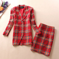 2014 Winter Brand Classic Women Plaid Wool skirt suit Ladies Formal Blazer Jacket with skirt 2pcs/set business suits Work sear
