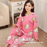 Hot selling casual long-sleeved tracksuit cotton  cartoon cat pajamas Korean cute pajamas