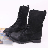 Cool Girls Motorcycle Boots Black Round Toe Lace Up Mid Calf Flock Leather Genuine Leather Lining Women Fashion Boots