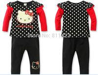 C019  2014 New Children Girls suit Hello kitty T-shirt + pants 2pcs sets children's clothing retail KITTY strap  set girls