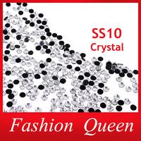 Nail Rhinestones Decorations,1440pcs/lot SS10 Crystal Clear DMC Hotfix Flatback Strass Trim Stone, DIY Clothing Nail Accessories