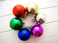 10 packs-Christmas Decoration Supplies 3cm Powder Colored Drawing Christmas Ball Decoration Hanging Ball
