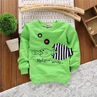 unisex big fish eat little fish fashion baby boys children cotton spring autumn sweatshirts hoodies KT252R