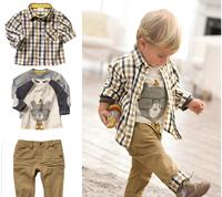 SH024 Free shipping,1set Retail top quality children clothing set boy's plaid 3 pcs set overshirt+tees+pants autumn baby wear
