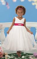 Straps V-Neck Hot Pink Sash White Satin Organza Princess Flower Girl Dresses for Weddings Party Evening Vestidos 2-12 age