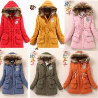 2014 New Arrival Women Thicken Warm Winter Coat Solid Color Slim Medium Long Parkas Coat with Fur Collar Overcoat Plus Size