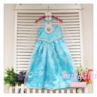 1 pcs retail 2-8 Years Girl's princess gauze dress new frozen dress Animated cartoon dress, Girls long-sleeved Snowflake dress