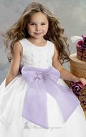 Big Light Purple Bow Tie White Organza Princess Flower Girl Dresses for Weddings Party Evening Vestidos 2-12 age