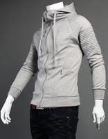 Slim Fitting Cardigan Sweatshirt Men/ Zipper Hooded Jacket Man/ Men's sweater Autumn Winter/ Hoodie Jacket Black Gray Charcoal