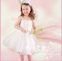 2014 new children white pink color flower dresses size 10 fashion princess girls soft party nice dress dinner wedge free #C110