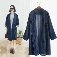 Ladies oversize long jacket Korea street style Raglan sleeves loose denim coat yy249