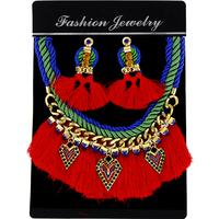 2014 Newest  fashion trendy golden color rhinestone Yarn tassels statement necklace & pendant Earrings women wholesale NK760