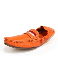 New Designer Casual Mens Leather Loafers Moccasin Shoes For Driving Men's Shoes Size 39 - 44 (Black, Dark Blue, Orange, White)