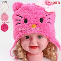 10pcs/lot Free Shipping! baby girls hat Hello Kitty cap Cartoon knitted cap Children Animal Winter Bomber hats