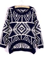 Free Shipping New Style pop diamond geometric pattern pullover Female Women Knitting Sweater # 06271
