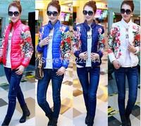 2014 New Fashion Women down coat short Slim winter flower cotton jacket coatLong Sleeve Parka Jacket Outwear For Women Wholesale