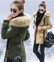 2014 New Fashion Korean Women Winter Coat Army Green Long Design Thicken Warm Woolen Liner Coat with fur Collar Plus Size